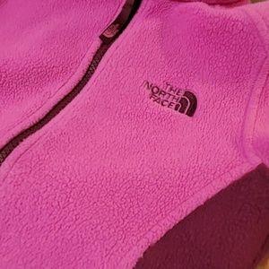 Pink North Face Zip Up Fleece XS 6 Girls